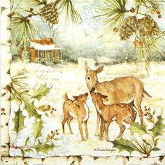 4x Single Party Paper Napkins for Decoupage Decopatch Craft Deer Family