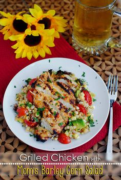 Grilled Chicken with Mom's Barley Corn Salad is fresh and light yet very filling. Substitute brown rice to make gluten-free!   iowagirleats.com