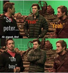 Robert talking to peter but which one lol oh boy.  They are acting for the next avengers infinity war