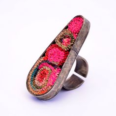 """ring by """"mmpascual"""" (Marcela Pascual y Marina Pascual, Argentina) - anillo murano tupido - textile techniques"""