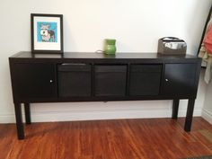 IKEA Hack: Expedit-Lack Sideboard. CLEVER. I would use the double size Expedit with shelf inserts and glass doors (custom?) to make the sideboard/bar we've been wanting for the dining room