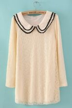 #SheInside  White Bilayer Lapel Long Sleeve Embroidery Lace Dress $31.94