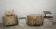 Taburete de tronco de madera, mesa con tronco y ruedas
