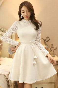 StyleOnme_Pearl Neckline Lace Sleeve Flared Dress #white #lace #dress #feminine #girlish #elegant #wintertrend #koreanfashion #kstyle #seoul #pretty #flared #pompom #ribbon #cute