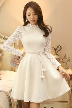 StyleOnme_Pearl Neckline Lace Sleeve Flared Dress #white #lace #dress #feminine #girlish #elegant #wintertrend #koreanfashion #kstyle #seoul #pretty #flared #pompom #ribbon #cute