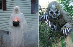 halloween dekorationen ideen skelette kessel weiße verkleidung