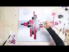 PEINTURE ABSTRAITE COQUELICOTS AUX COUTEAUX débutants ☆ Tutoriels ☆ LOISIRS CREATIFS - YouTube