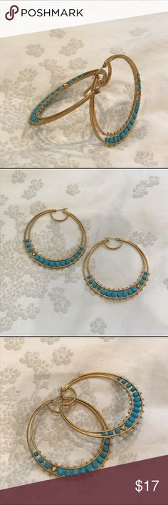 Juicy Couture large gold & turquoise hoops Juicy Couture large gold hoops with turquoise accents. Perfect condition, only worn a few times. Juicy Couture Jewelry Earrings