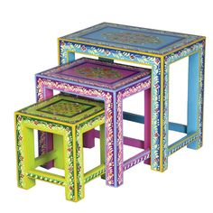 I pinned this 3 Piece Mango Wood Nesting Table Set from the Collection Kolore event at Joss & Main! Painted Chairs, Hand Painted Furniture, Cool Furniture, Painted Tables, Painting Furniture, Accent Furniture, Vintage Furniture, Wood Nesting Tables, Decoupage