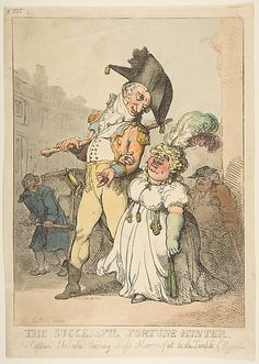 The Successful Fortune Hunter, or Captain Shelalee Leading Miss Marrowfat to the Temple of Hymen  Thomas Rowlandson  (British, London 1757–1827 London)  Date: 1802 Medium: Hand-colored etching Dimensions: sheet: 13 7/16 x 9 5/8 in. (34.2 x 24.4 cm) Classification: Prints Credit Line: The Elisha Whittelsey Collection, The Elisha Whittelsey Fund, 1956 Accession Number: 56.567.16