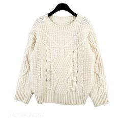 Sweater - Knitted (€58) ❤ liked on Polyvore featuring tops, sweaters, shirts, jumper, shirt tops, white shirt, white jumper, white top and shirt sweater