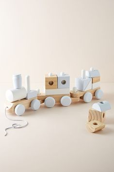 Wooden Block Train Toy by Melissa & Doug in Beige, Kids at Anthropologie Wooden Baby Toys, Wood Toys, Wooden Toys For Kids, Modern Kids Toys, Baby Boy Toys, Baby Girls, Little Boy Toys, Wooden Blocks Toys, Wood Crafts