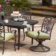 Edington Collection from Home Depot for patio sitting area, rust resistant cast aluminum.