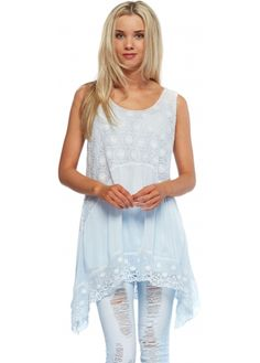 Monton Baby Blue Circle Crochet Asymmetric Silk Swing Top