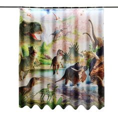 $29.90 HOT!!!180x150cm Jurassic Period  Ancient Dinosaur Shower Curtain Digital Art Bathroom W/12Pcs Hooks Kids Bathroom Decor Gift