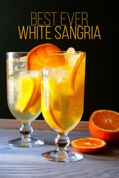 This new twist on the classic Spanish sangria will make your party sizzle. This simple and quick recipe is infused with fresh oranges and lemons which makes for a very refreshing, irresistible drink. Party Drinks, Wine Drinks, Cocktail Drinks, Cocktail Recipes, Alcoholic Drinks, Fruity Drinks, Refreshing Cocktails, Best White Sangria Recipe, White Wine Sangria