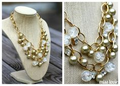Glitz and Gold Holiday Necklace with Cousin pearls. Pretty! and with tutorial! #jewelryinspiration #cousincorp