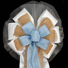 Light Blue Natural Burlap Rustic Wedding Bows