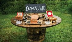 Cigar bar station and wedding sign! See more from this lakeside Knoxville wedding inspiration at @whitestoneinn with navy and gold details! Pics by @TonyaDamron1 | The Pink Bride® www.thepinkbride.com