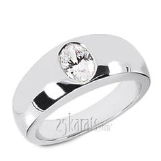 Oval Diamond Solitaire Men's Ring (7x5mm)