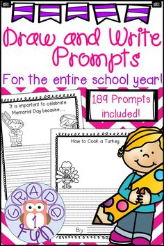 189 Monthly themed draw and write prompts that are great to use for daily writing prompts as morning work or to start writing class. They are also great for a writing center or early finishers. These can also be used at home as part of homeschooling. #firstgrade #secondgrade #kindergarten #writing #homeschooling #dailywriting #journal