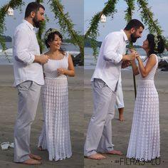 Mini Wedding - Casamento - Vestido de noiva de crochê - Vestido de casamento rodado - De frente e de lado - As Filhas da Lu