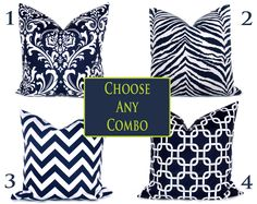 Decorative Navy Pillows Navy and White Set of TWO 18x18 Pick your Combo. $34.00, via Etsy.