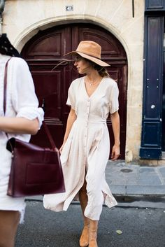 Button-up Midi Dress and Floppy Hat #spring #springstyle #mididress