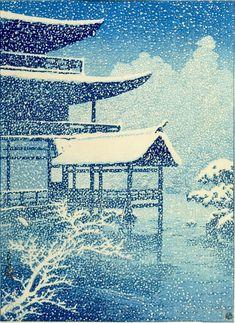 Kawase Hasui, Kinkaku-ji in Snow (Yuki no Kinkaku-ji), Taishô period, dated 1917