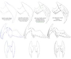 How to Draw - manga angel wings tutorial #1