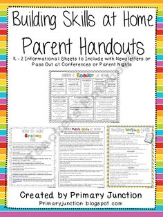 Building Skills at Home - Parent Handouts product from Primary-Junction on TeachersNotebook.com