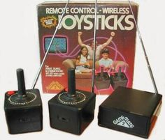 Atari wireless joysticks.  My god, they have antennas.