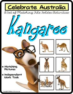 File Folder Games Set KANGAROO Matching Skills to CELEBRATE AUSTRALIA!This fun matching activity is directed towards visual discrimination skills. Students must look carefully to recognize the differences in each set of real-life pictures of kangaroos and plush animal figures.