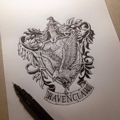 harry potter, ravenclaw, and hogwarts image Harry Potter Kunst, Harry Potter Sketch, Arte Do Harry Potter, Harry Potter Drawings, Ravenclaw, Crest Tattoo, Hp Tattoo, Claw Tattoo, Tattoo Thigh