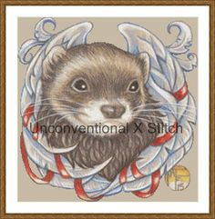 Ferret cross stitch pattern - modern counted cross stitch - barnabas angel ferret - Licensed Natalie Ewert by UnconventionalX on Etsy