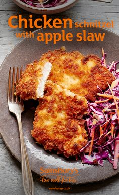 schnitzel with apple slaw You might call it schnitzel or even escalope. Either way, it's delicious with a fruity slaw on the side.You might call it schnitzel or even escalope. Either way, it's delicious with a fruity slaw on the side. Schnitzel Recipes, Chicken Schnitzel, Uk Recipes, Cooking Recipes, Healthy Recipes, Cooking Tips, Recipies, Apple Slaw, Yummy Chicken Recipes