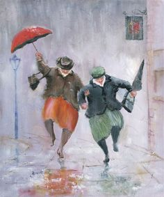 Image of 'Night Owls' Giclee Canvas by Des Brophy Rain Illustration, Rain Art, Umbrella Art, Singing In The Rain, Inspiration Art, Rainy Days, Painting & Drawing, Watercolor Paintings, Street Art