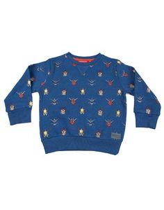 Someone Kids - Blauwe sweater met ruimtewezens - Pepatino.be