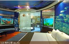 Underwater themed hotel room Themed Hotel Rooms, Disney Themed Rooms, Disney Rooms, Underwater Bedroom, Underwater Hotel, Underwater Theme, Fantasy Hotel, Unusual Hotels, Ice Hotel