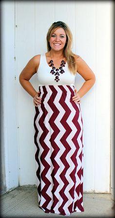 Plus Size Feeling Sassy Maroon and White Chevron Maxi DressPurchase