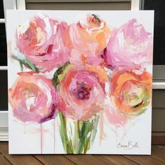 Original painting - pink peonies 36x36 with acrylic paint and brush peonies, spring floral, pink floral, Painted on a museum quality gallery wrapped canvas with 1.5deep Created with brush and acrylic paint and lots of texture added with my palette knife