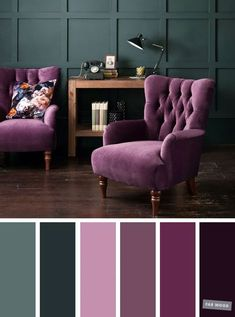 The Best Living Room Color Schemes – Dark Green & Purple #colorpalette #homecolor #colors #colorschemes