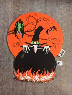 vintage 1978 beistle spook witch cauldron diecut halloween decoration
