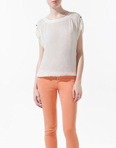 LONG SLEEVE BLOUSE WITH ELASTICATED HEM - Shirts - Woman - ZARA United States
