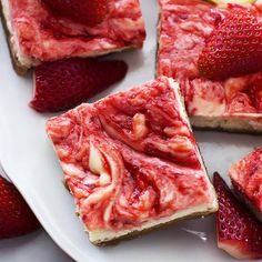 Strawberry Lemon Cheesecake Bars. Thick buttery graham cracker crust topped with lemon strawberry-swirled cheesecake! Chill them for a tasty summer dessert!