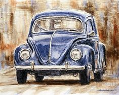 1960 Volkswagen Beetle Art Print by Joey Agbayani. All prints are professionally printed, packaged, and shipped within 3 - 4 business days. Choose from multiple sizes and hundreds of frame and mat options. Car Painting, Painting & Drawing, Drawing Drawing, Painting Canvas, Beetle Car, Vw Vintage, Car Drawings, 5d Diamond Painting, Classic Trucks