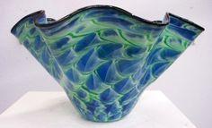 Hand Blown Glass Art Blue Green Patterned Bowl by oneilsarts,