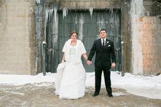 Rustic urban wedding couple