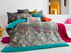 Kas Dark green 'Mimosa' bed linen- at Debenhams. Duvet Covers Uk, Double Duvet Covers, Linen Bedding, Bedding Sets, Bed Linens, Quilt Cover Sets, Awesome Bedrooms, Cool Beds, Soft Furnishings