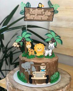 Safari Birthday Cakes, Jungle Theme Cakes, Jungle Theme Birthday, Safari Cakes, Jungle Party, Baby Boy 1st Birthday, Safari Party, Safari Theme, 1st Birthday Parties